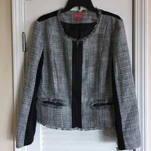 Elle Frayed Raw Hem Tweed Blazer Front Zipper-SZ L